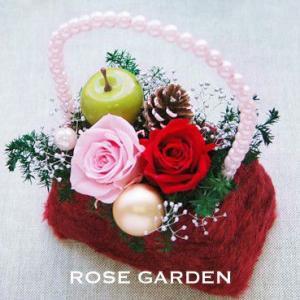 誕生日プレゼント 冬のファーバック風プリザーブドフラワーギフト Sサイズ メッセージカードつき|rosegarden