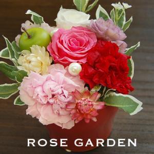 【40%OFF】フルーティープリザ(カーネーション、バラ、アジサイ)・レッド&イエロー|rosegarden