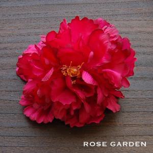 【結婚式2次会、成人式のヘアアクセ】ピオニー・レッドコサージュ|rosegarden