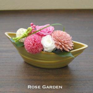 バラの和風プリザーブドフラワーS 桃 みかん 松葉(あすつくOK)|rosegarden