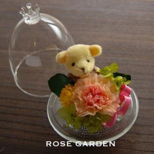 くまさん&カーネーションガラスドーム ピンク オレンジ レッド|rosegarden