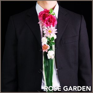 【お花のネクタイ】フラワーネクタイ ピンク (造花のアレンジメント)|rosegarden