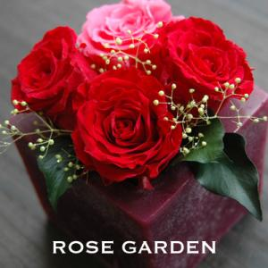 【アロマワックスベース】バラのプリザーブドフラワー レッド(赤)|rosegarden