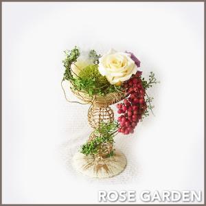 【こだわり器】アンティークスタンド プリザーブドフラワーのスタンド風アレンジメント|rosegarden