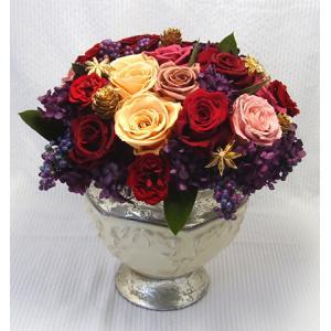 【ゴージャス】アンティークポット 赤いバラのプリザーブドフラワーのアレンジメント|rosegarden