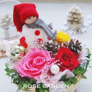 クリスマスプレゼント・送料無料・プリザーブドフラワー ふぁふぁスノーマン (レッド・グレー)|rosegarden