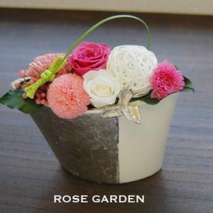 バラの和風プリザーブドフラワーギフト W 桃(クイックお届けOK)|rosegarden