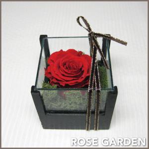 プチギフト 誕生日プレゼント ウッド&ガラス レッド  プリザーブドフラワー 女性向け|rosegarden