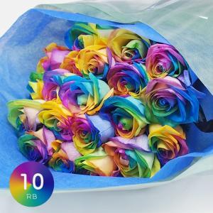 """とてもきれいであざやかなレインボーローズの花言葉は""""奇跡""""。ハッピーカラー虹色の花束は特別な日の贈り..."""