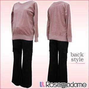ベロア トップス+ リブ付き カーゴパンツ パンツは大きくなるお腹にしっかり対応 ローズマダム 3314|rosemadame