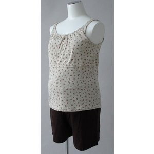 授乳口 付き小花柄 キャミソール &5分丈パンツ 授乳服 ローズマダム|rosemadame