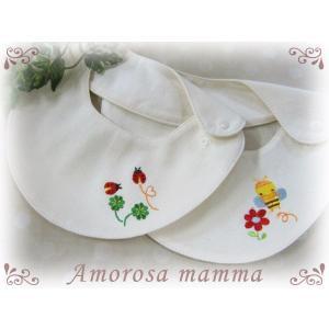 Amorosa mamma オーガニックスムースのビブ/よだれかけ テントウムシ/ミツバチ 出産祝い|rosemadame