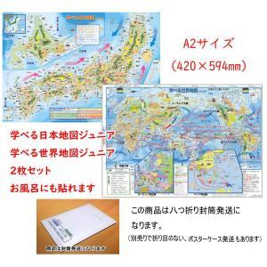 「学べる日本地図、世界地図ジュニア 2枚セット」(八つ折り封筒発送) 小学校、中学校の学習に合わせた...