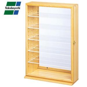 コレクションラック 卓上 棚 木製 背面ミラー コレクションケース 透明アクリル棚板タイプ ナチュラル木目の画像
