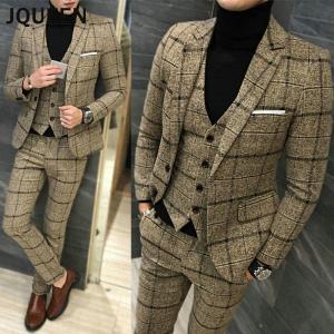 JQUEEN スリーピース スーツ メンズ ビジネススーツ 結婚式 チェック スーツセットアップ 3...