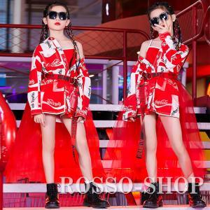 キッズ ダンス衣装 赤 ガールズ ジャズダンス ベール シャツ 韓国 HIPHOP トップス セット...