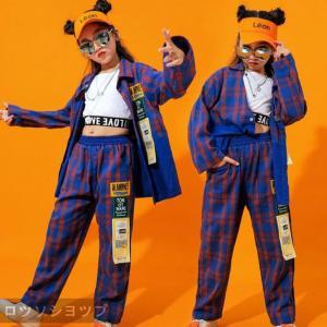 ロツソシヨツプ キッズ ダンス衣装 ヒップホップ セットアップ チェック柄 長袖 チェックシャツ パンツ タンクトップ 男の子 女の子 子供服 ステージ衣装