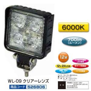 トラック用品 ジェットイノウエ526806 WL-09 LED4ハイパワーワークランプ角型 12/24V共用|route2yss