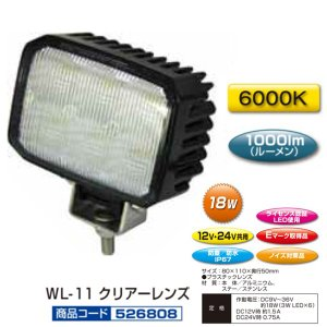 JET 526808 WL-11 LED6ハイパワーワークランプ角型 12/24V共用 route2yss