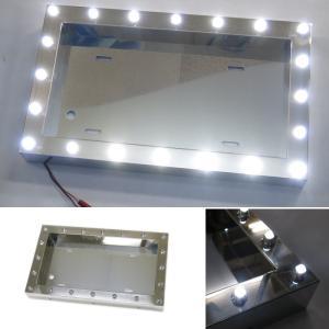 トラック用品 AS LEDパイロットランプ付ナンバープレート枠 大型 クリアレンズ/LEDホワイト route2yss