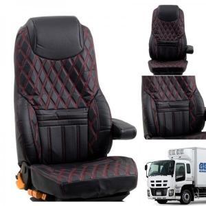 トラック用品 グランドダイヤシートカバー(運転席用)ブラック/レッドステッチいすず11ギガ用(タテ型ヘッドライト) route2yss