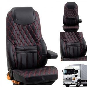 トラック用品 グランドダイヤシートカバー(運転席用)ブラック/レッドステッチ 日野グランドプロフィア用|route2yss