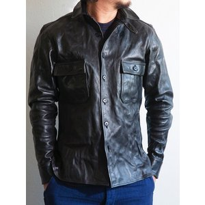 MMM(エムエムエム)〜HORSE LEATHER SHIRTS WITH CHIN STRAP BLACK〜|route66amboy