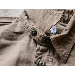 WORKERS(ワーカーズ)〜Metal Button Work Shirts Beige〜|route66amboy|06
