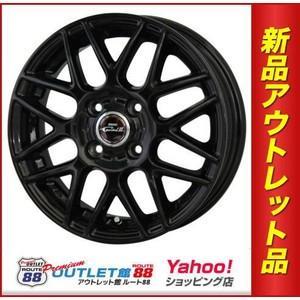 サマータイヤホイール4本SET アウトレット特別価格 165/40R16 D,O,S ガビアルII ブラックVer グロスブラック route88-s