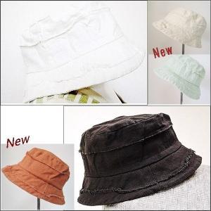 バケットハット 帽子 ブラック ホワイト グリーン  紫外線対策 切りっぱなし ナチュラル|rovel