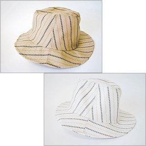 ストライプ 帽子 クラッシャーハット ベージュ ホワイト 紫外線対策 つば長め*クリックポスト可*|rovel