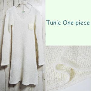 チュニック ワンピース ひざ丈ワンピース 長袖 ワンピ 透かし編み フィット ホワイト 白 送料無料|rovel