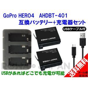 GoPro ゴープロ HERO4 互換 バッテリー 2個 + USB型 充電器 バッテリーチャージャー セット ロワジャパン|rowa