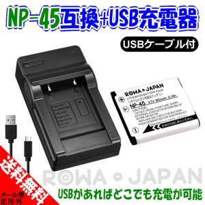 NP-45S NP-45 NP-45A フジフィルム 互換 バッテリー + USB型充電器 バッテリーチャージャー セット ロワジャパン