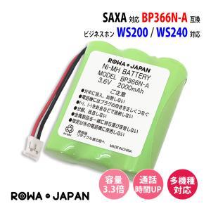 【大容量2000mAh 通話時間UP】サクサ SAXA コードレスホン 子機用 充電池 【BP366N-A】 電話機用 バッテリー