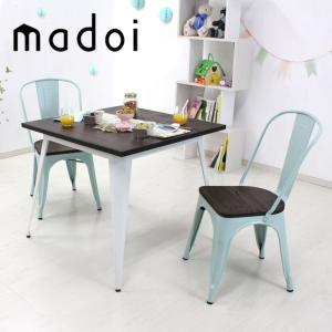 ヴィンテージ ダイニングテーブル ダイニングセット 3点セット 2人掛け 幅80cm 天然木×スチール madoi(マドイ) ホワイト&ミストグリーン 食卓 カフェ風|royal3000