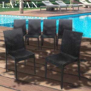 ガーデンチェア ひじなし 6脚セット LA・TAN  | ガーデンチェア ラタン セット イス 椅子 ひじなし 肘なし ラタン調 屋外 ガーデン 庭 バルコニー テラス デッキ|royal3000