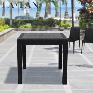 ガーデンテーブル80×80cm LA・TAN  | ラタン ラタン調 テーブル ガーデンファニチャー 屋外 ガーデン 庭 バルコニー テラス ウッドデッキ リゾート ホテル|royal3000