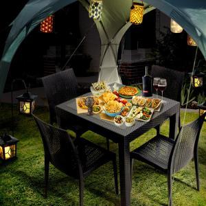 ガーデン テーブル 80×80cm チェア 4脚 & ソーラーライト & イベント シェルター セット |  ラタン ガーデンチェア ランタン グランピング|royal3000