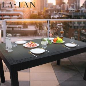ガーデンテーブル90×150cm LA・TAN  | ラタン ラタン調 テーブル ガーデンファニチャー 屋外 ガーデン 庭 バルコニー テラス ウッドデッキ リゾート ホテル|royal3000