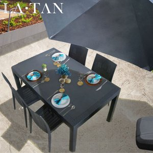 ガーデンテーブル90×150cm・チェア4脚・パラソルセット LA・TAN  | ガーデンセット パラソル  ガーデンチェア ハンギングパラソル 椅子 ラタン調 庭 バルコニー|royal3000