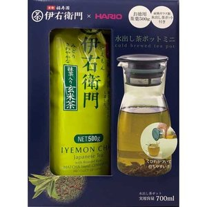 伊右衛門 HARIO 水だし茶 ポットセット 茶葉500g ポット700ml 抹茶入り玄米茶|rrr-j