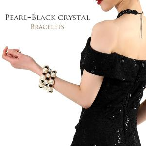 3連 パール&ブラッククリスタル ブレスレットセットブラック パーティ 結婚式 お呼ばれ 二次会 謝恩会 返品交換不可 AC-000106|rs-gown