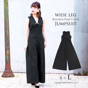 ワイドパンツ フォーマル ワンピース ドレス パーティー 結婚式 お呼ばれ 黒 ブラック オールインワン 20代 30代 40代 セール FD-050144|rs-gown
