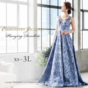ロングドレス 演奏会 発表会 ブルー 結婚式 衣装 ジャガード 大きいサイズ Aライン 袖なし フォーマル パーティー FD-080276 rs-gown