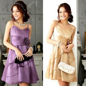 バラ付 ティアード パーティードレス カラードレス 大きいサイズ ワンピース 激安ドレス 送料無料 dr000006 rsky