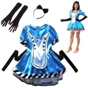 ハロウィン コスプレ 衣装 不思議の国のアリス ワンピース 3点セット レディース ふしぎの国のアリス コスチューム 安い hw000032 rsky
