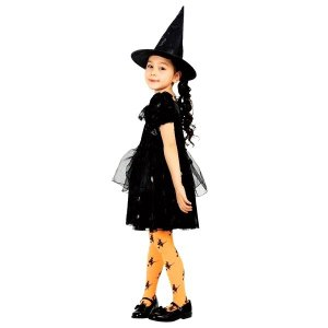 ハロウィン コスプレ 魔女 衣装 キッズ 2点セット 100 120 140 サイズ 子供用 ワンピース コスチューム ウィッチ 安い hw000062 rsky