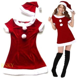 サンタ コスプレ コスチューム クリスマス 衣装 サンタクロース ミニ ワンピース 2点セット レディース サンタ 送料無料 xs000001 rsky