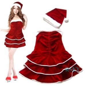 サンタ コスプレ コスチューム クリスマス 衣装 サンタクロース 三段ティアード ベアトップ ミニワンピ 2点セット レディース セットアップ 送料無料 xs000009 rsky